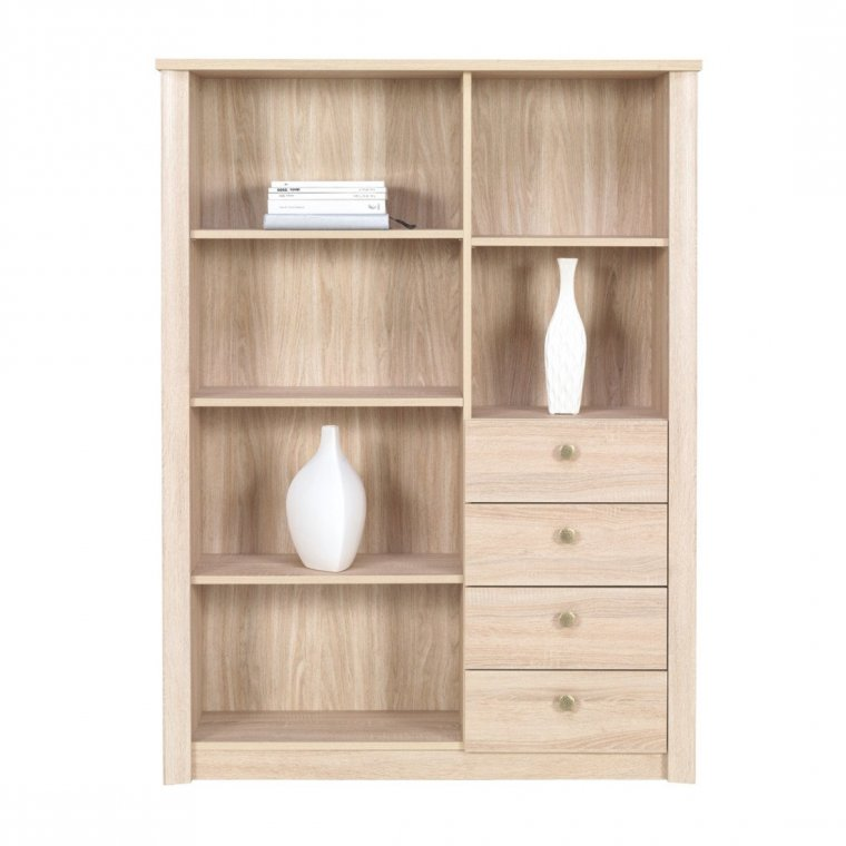 High bookcase with drawers
