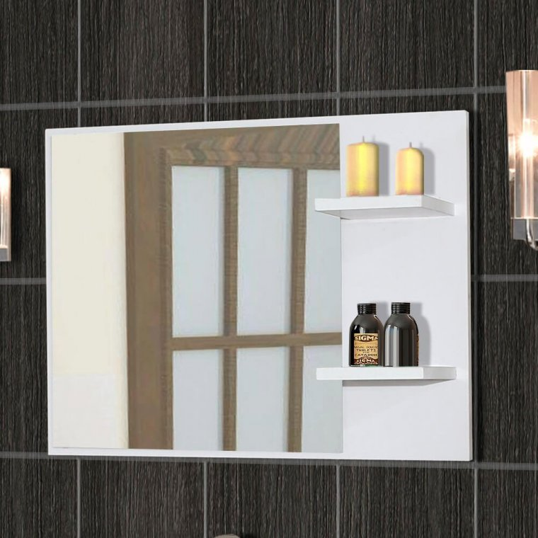 Mirror with white frame and shelves
