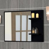 Mirror with black frame and shelves