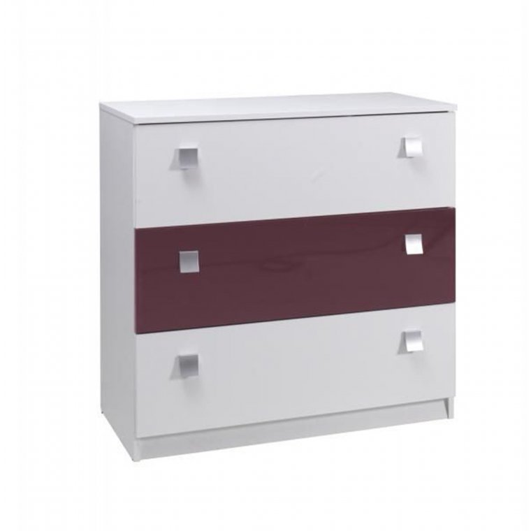 Purple&White gloss chest of drawers