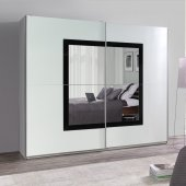 Wardrobe with a mirror and black frame