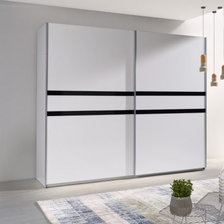 White cabinet with black strips