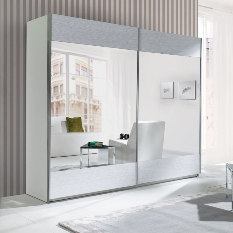 Cabinet with a mirror and white additives
