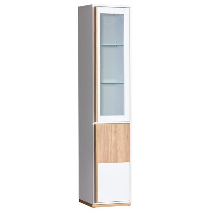 Narrow display cabinet with LED