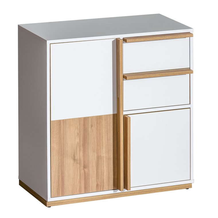 White and brown chest of drawers