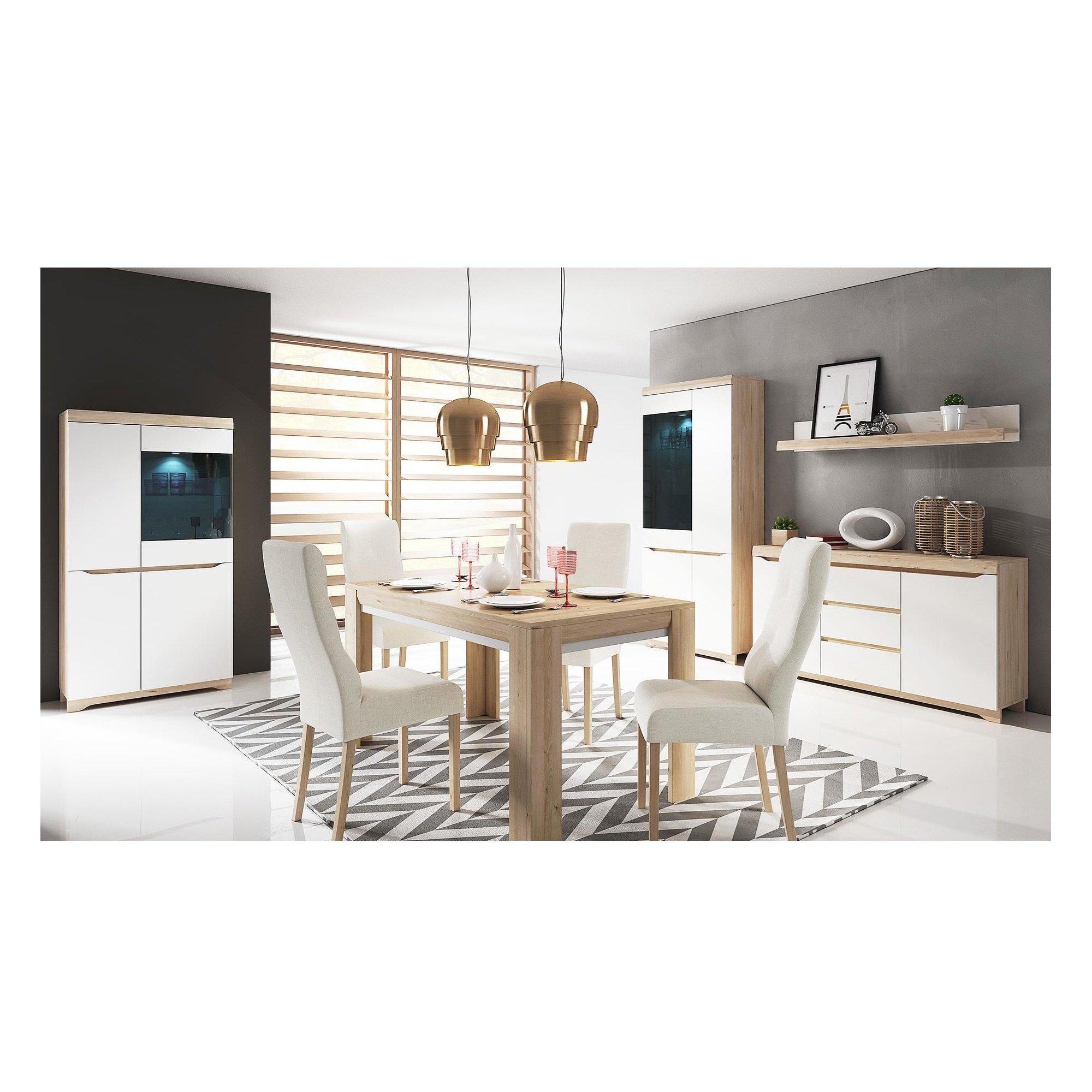 beech dining room furniture | Dining room furniture in white/beech colour - Almond Furniture