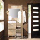 Wardrobe with mirror and rail